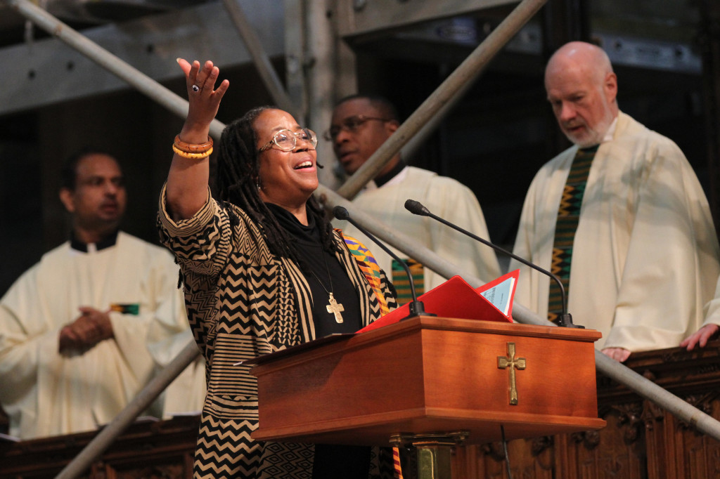 Cantor Kim R. Harris sings during annual Black History Month Mass at St. Patrick's Cathedral in New York